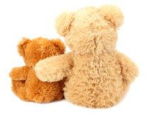 Two toy teddy bears isolated on white background stock photography