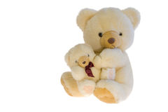 Two toy teddy bears together. Taken an over white. Isolated Royalty Free Stock Images