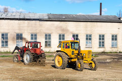 Two tractors pulling one another. Stock Image
