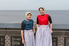 Two traditional dressed women from Urk Royalty Free Stock Photo
