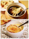 Two traditional French soups stock images
