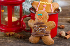 Two traditional homemade gingerbread man Royalty Free Stock Images