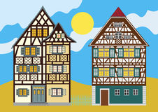 Two traditional houses anywhere in Europe. Two traditional medieval homes anywhere in Europe; very detailed, elaborate and decorative Stock Image