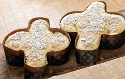 Two traditional Italian Easter colomba cakes Stock Images