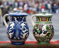 Two traditional romanian jugs stock image