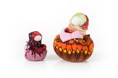 Two traditional russian dolls Blagopoluchnitsa. This doll is a mascot for prosperity and happiness in household Royalty Free Stock Photo
