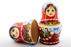 Two traditional Russian matryoshka dolls. On white background Royalty Free Stock Photos