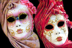 Two traditional Venetian mask on a black background Royalty Free Stock Image