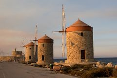 Two traditional windmill in Rhodes,Greece Stock Photo