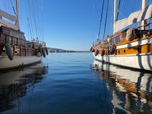 Two boats at the Bodrum harbor stock image