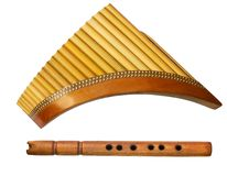 Two traditional wooden flutes Stock Photography