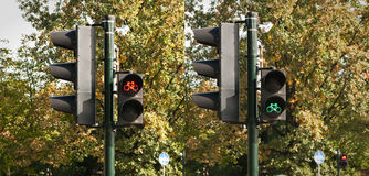 Two traffic lights Royalty Free Stock Image