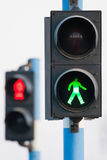 Two traffic lights for pedestrians Royalty Free Stock Images