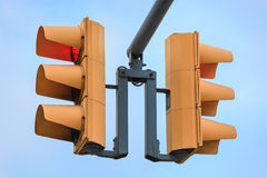 Two traffic lights. On sky background Stock Photography