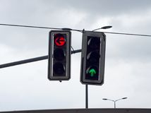 Two traffic lights. Allows to move forward and forbids turn to the left stock image