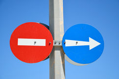 Two traffic signs. No entry and proceed right stock image