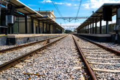 Two train tracks in perspective Royalty Free Stock Photos