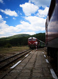 Two trains in bulgaria Royalty Free Stock Photos