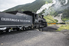 Two trains, Durango and Silverton Narrow Gauge Railroad featuring Steam Engine, Silverton, Colorado, USA Royalty Free Stock Photos