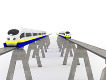 Two trains magnetic levitation #3 Royalty Free Stock Image