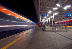 Two trains, one train. Royalty Free Stock Photo