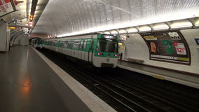 Two trains in Paris metro station. Oldest metro station in Europe stock video footage