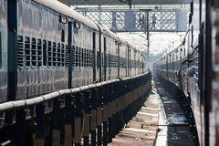 Two trains at the railway station. View of station in Kerala, India, South Asia Stock Images