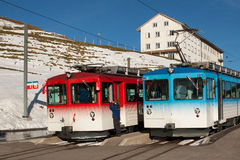 Two trains on the top of Mt. Rigi, Switzerland Stock Image