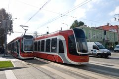 Two trams PESA Twist in Częstochowa Stock Photography