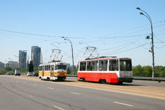 Two trams on Stroginskoye highway, Moscow Stock Photos