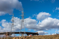Two Transmission tower on blue sky background. Beautiful industrial landscape stock image