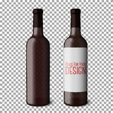 Two transparent blank black realistic bottles for red wine  on plaid background. Vector Royalty Free Stock Image