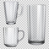 Two transparent glass cups and one glass for juice. On checkered background Stock Image