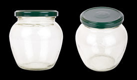 Two transparent glass jars Stock Photography