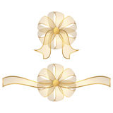 Two transparent gold bow Royalty Free Stock Image