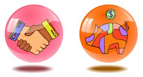 Two transparent shiny buttons with hand-drawn pictures. stock illustration