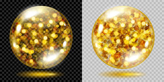 Two transparent spheres with gold sparkles. Two transparent spheres filled with golden glowing sparkles with bokeh effect. Spheres with gold sparkles, glares and Stock Photography