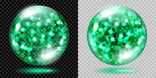 Two transparent spheres with green sparkles Royalty Free Stock Photos