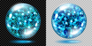 Two transparent spheres with light blue sparkles. Two transparent spheres filled with light blue glowing sparkles with bokeh effect. Spheres with light blue Stock Photography