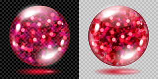 Two transparent spheres with red sparkles. Two transparent spheres filled with red glowing sparkles with bokeh effect. Spheres with red sparkles, glares and Royalty Free Stock Images