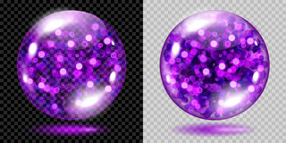 Two transparent spheres with violet sparkles. Two transparent spheres filled with violet glowing sparkles with bokeh effect. Spheres with violet sparkles, glares Stock Photo