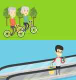 Two transportation banners with space for text. vector illustration
