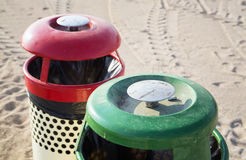 Two trash cans on the beach sunny day Royalty Free Stock Photo