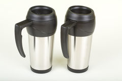 Two Travel Coffee Mugs Royalty Free Stock Photography