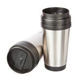 Two travel thermos-cup. Closeup. Stock Photo