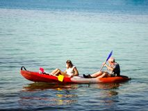 Two traveler are kayaking in the sea near Koh Chang island,Thailand on 8 Jan 2012 Stock Photo