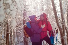 Two travelers in winter forest stock photo