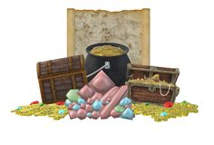 Two treasure chests, a pile of gold coins and gems and a treasure map royalty free stock photo