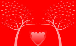 Two tree with hearts. Two tree with red  hearts Royalty Free Stock Images