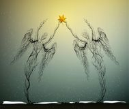Two tree silhouettes like a angels holding red Christmas star in snowing weather, Christmas icon concept, people like. Plant, surrealism royalty free illustration